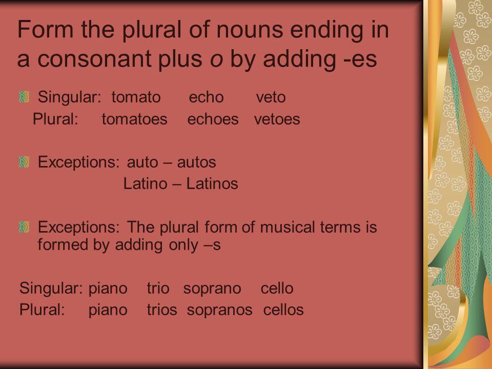 Form the plural of nouns ending in a consonant plus o by adding -es