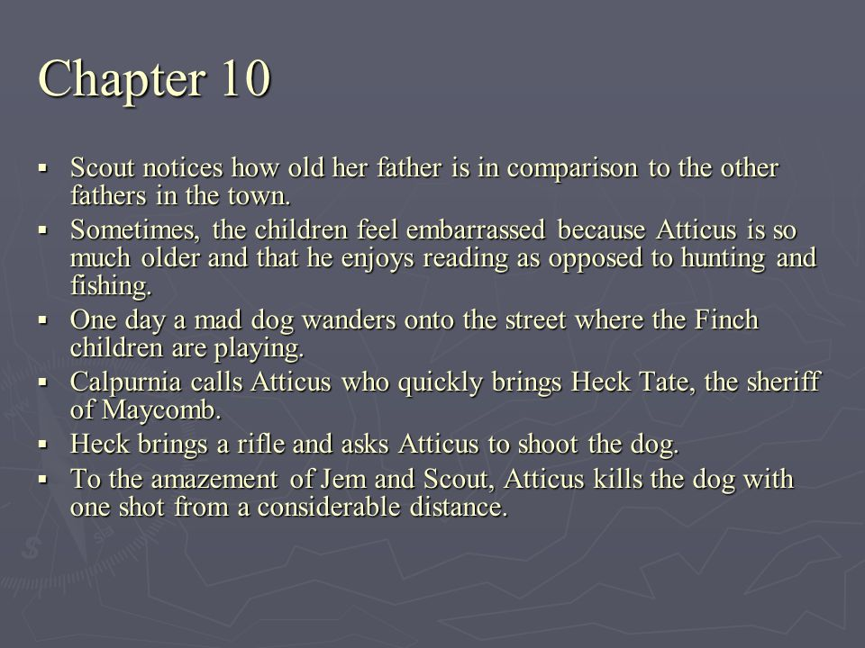 Chapter 10 Scout notices how old her father is in comparison to the other fathers in the town.