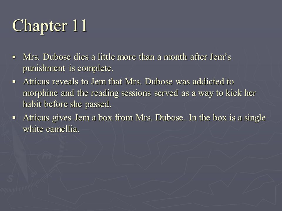 Chapter 11 Mrs. Dubose dies a little more than a month after Jem's punishment is complete.