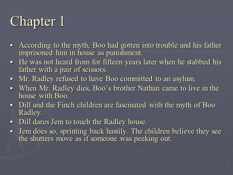 Chapter 1 According to the myth, Boo had gotten into trouble and his father imprisoned him in house as punishment.