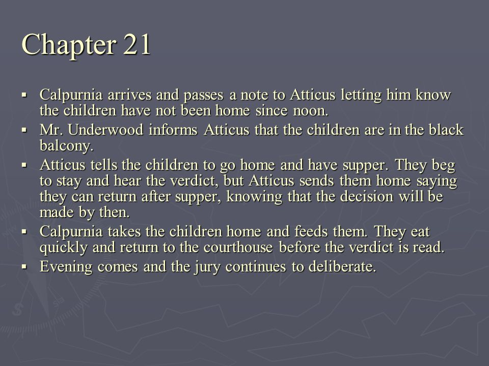 Chapter 21 Calpurnia arrives and passes a note to Atticus letting him know the children have not been home since noon.