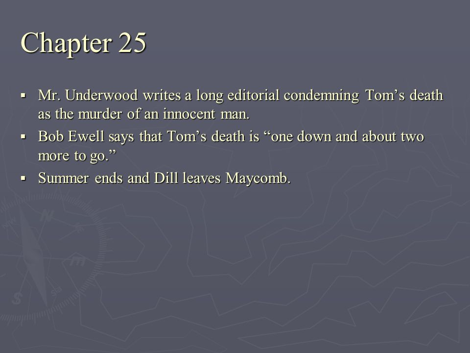 Chapter 25 Mr. Underwood writes a long editorial condemning Tom's death as the murder of an innocent man.