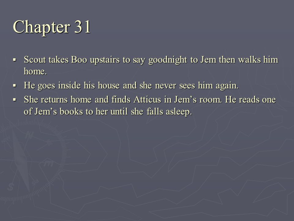 Chapter 31 Scout takes Boo upstairs to say goodnight to Jem then walks him home. He goes inside his house and she never sees him again.