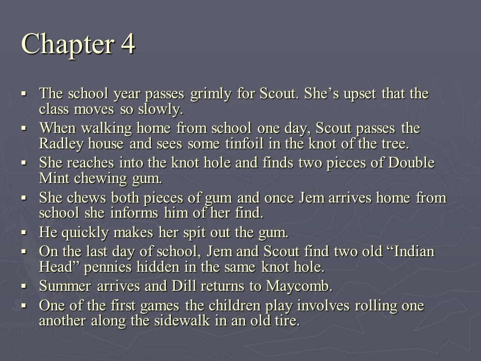 Chapter 4 The school year passes grimly for Scout. She's upset that the class moves so slowly.