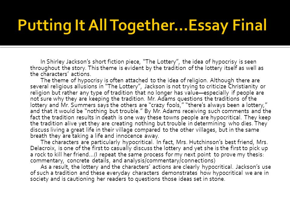 Protect Environment Essay Grade Literature Theme Ppt Video Online Essay Final Sexual Discrimination Essay also Essay World War 1 The Lottery By Shirley Jackson Essay The Lottery By Shirley Jackson  Famous Persuasive Essay