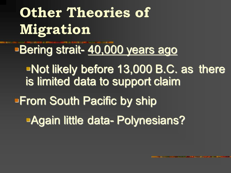 Other Theories of Migration