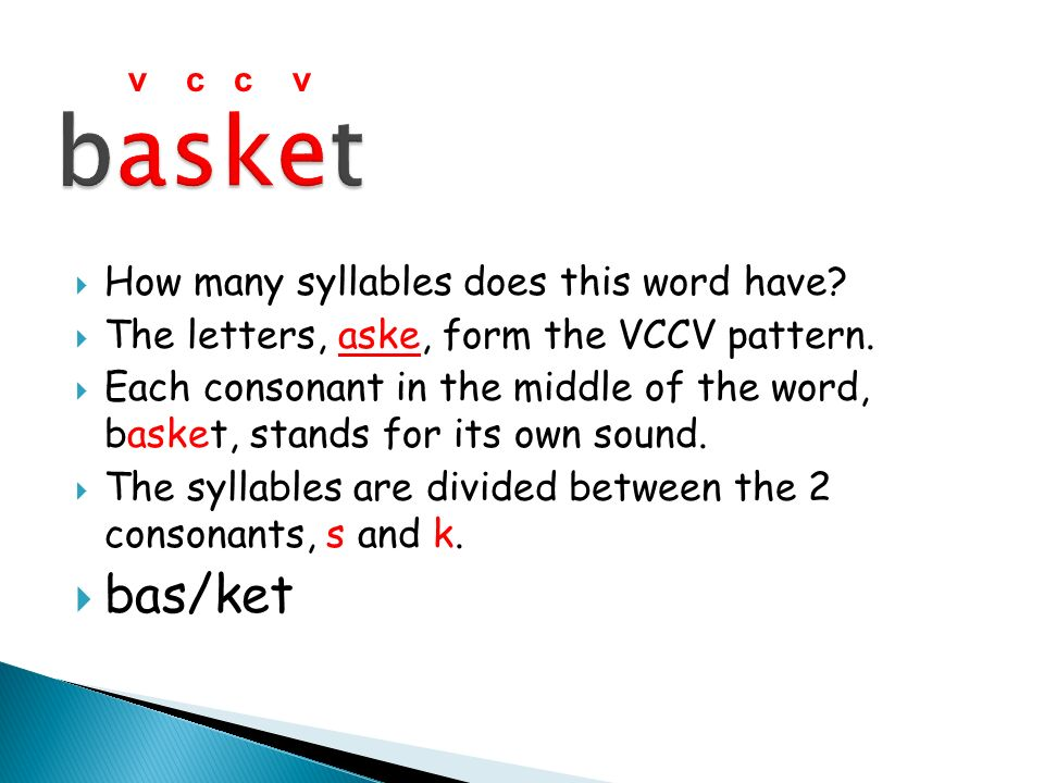 basket bas/ket How many syllables does this word have