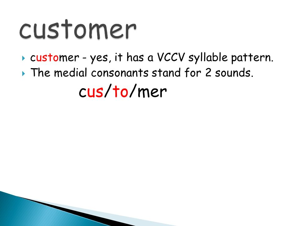 customer cus/to/mer customer - yes, it has a VCCV syllable pattern.