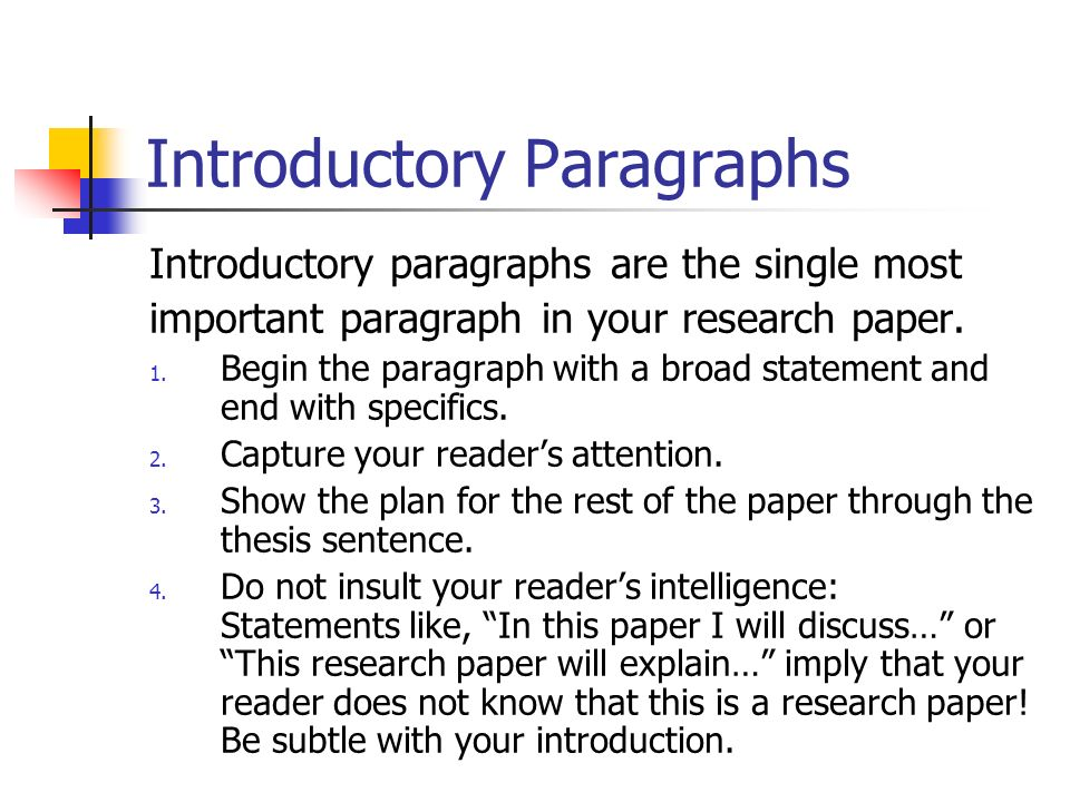 "writing introductions research papers Readers get a strong view of the rest of the paper from the first  research  education, academic writing, public engagement, funding, other eccentricities   writing a good introduction typically means ""straightforward"" writing."