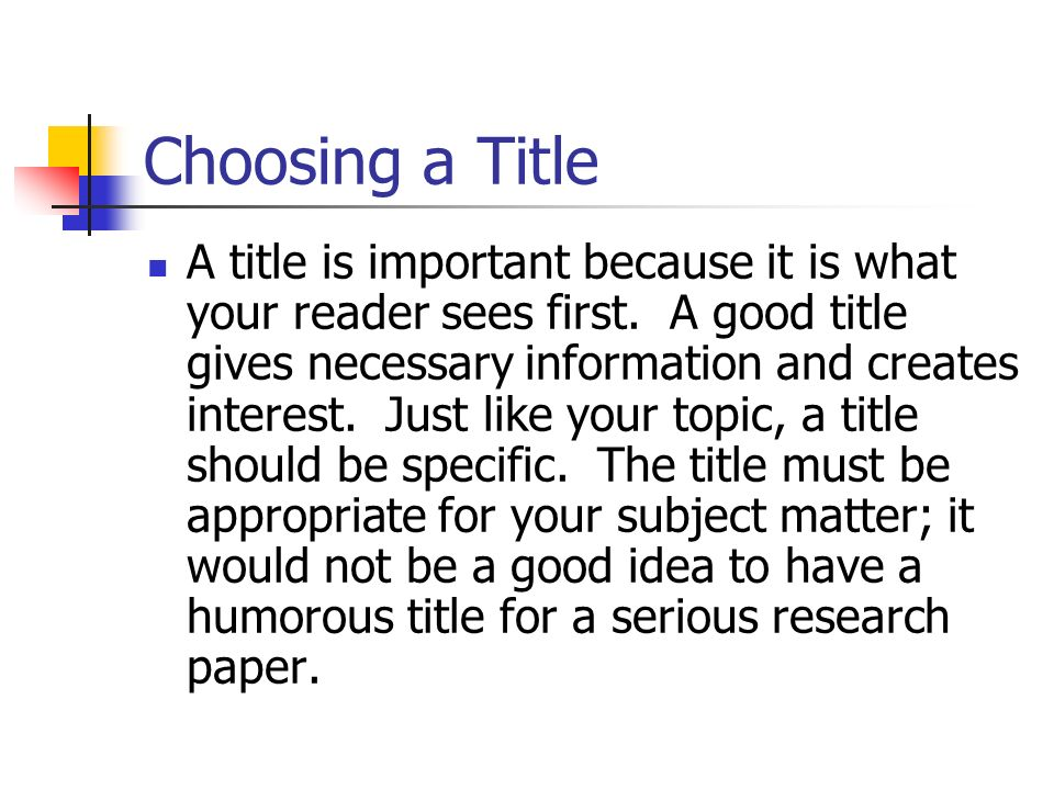 Choosing a title for your research paper