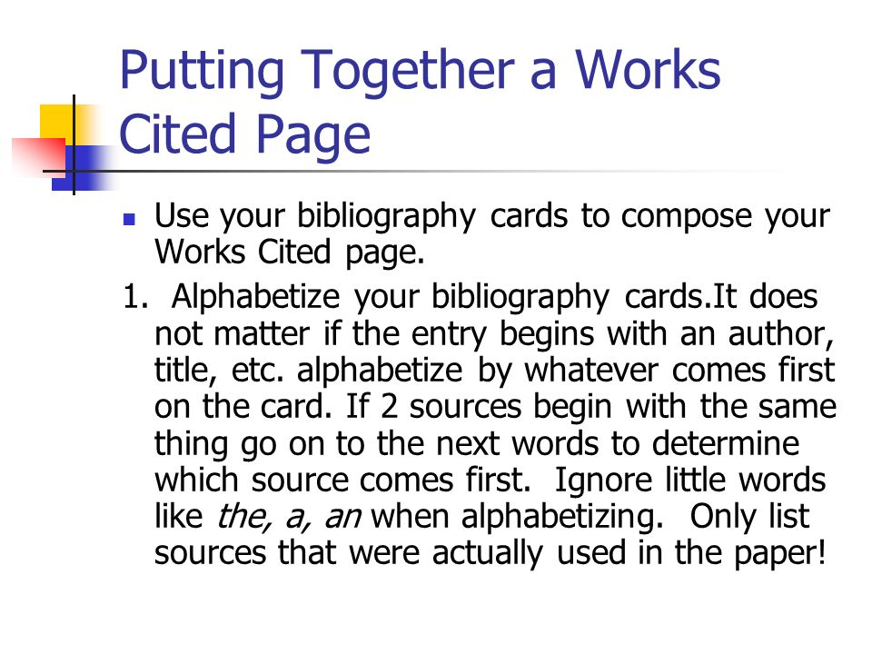 How to write a bibliography card