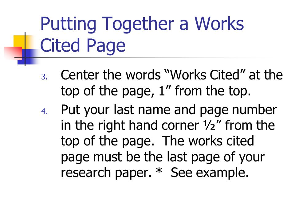 write works cited research paper