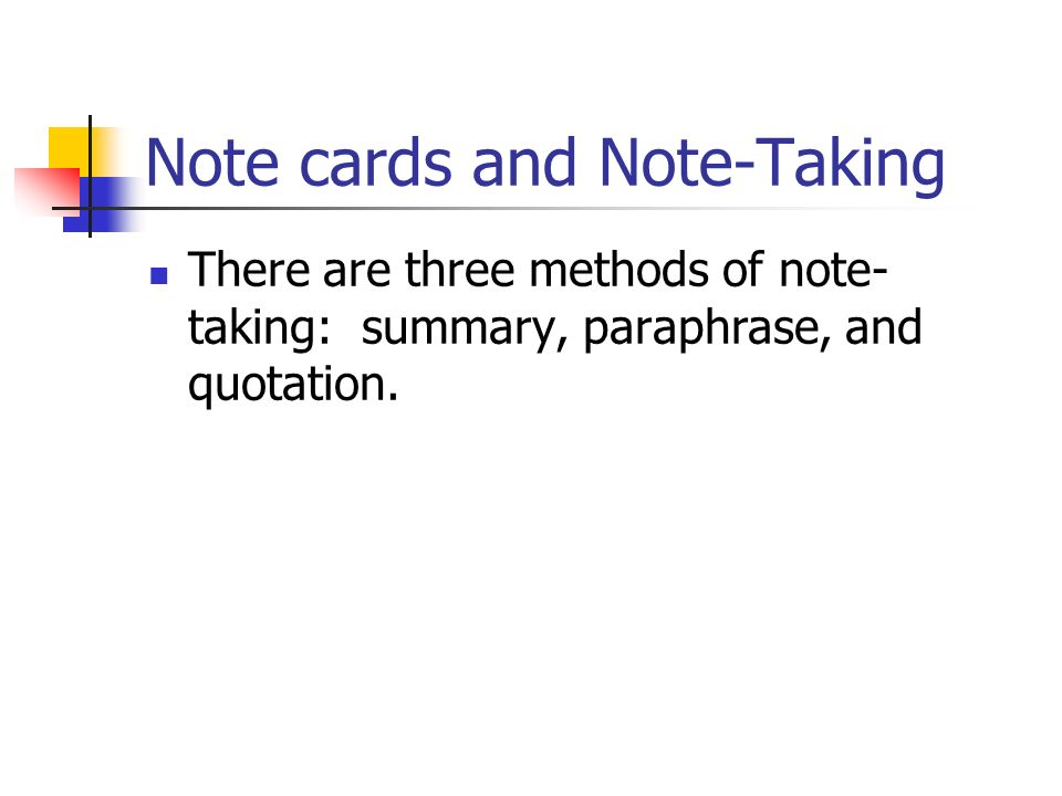 Note cards and Note-Taking