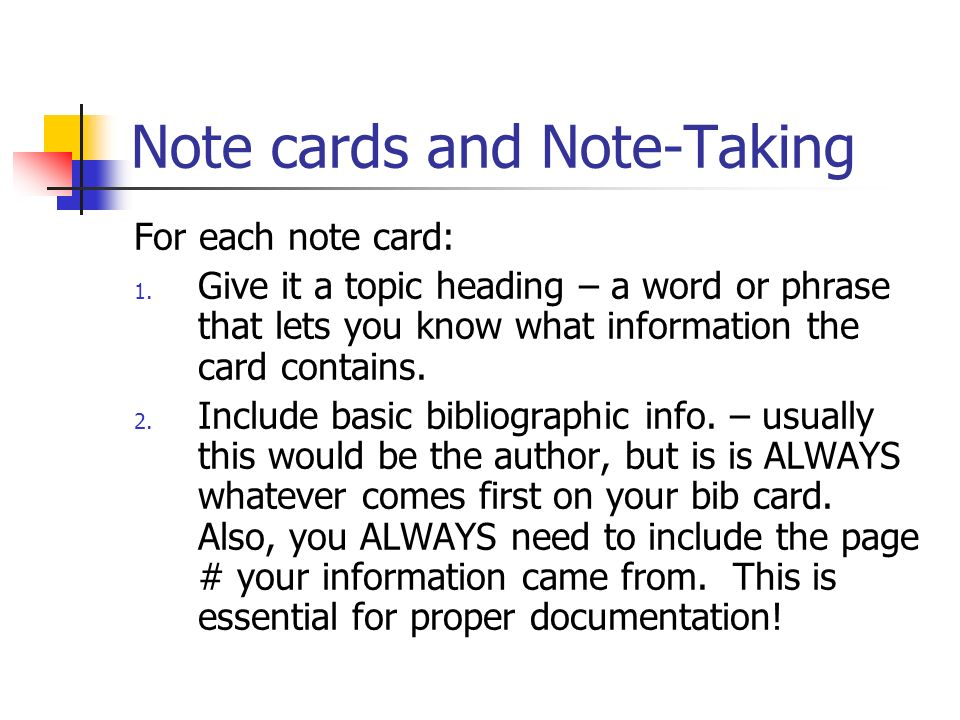 note taking cards in research paper How notes sheets eliminate possible note-taking problems: problem #1: students write too much information on a card notes sheet solution: each space on the sheet is only big enough for one fact or quote.