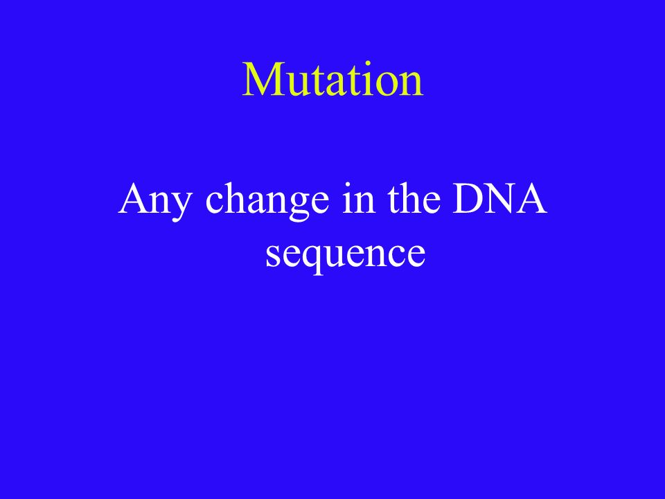 Any change in the DNA sequence