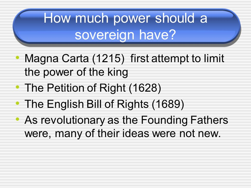 How much power should a sovereign have
