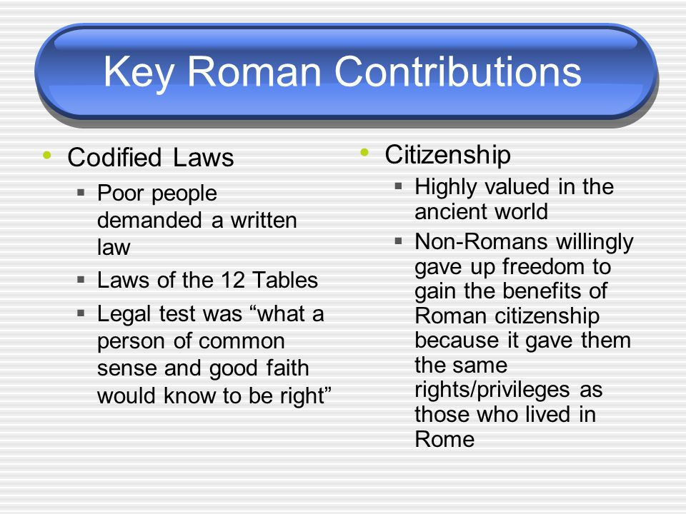 Key Roman Contributions