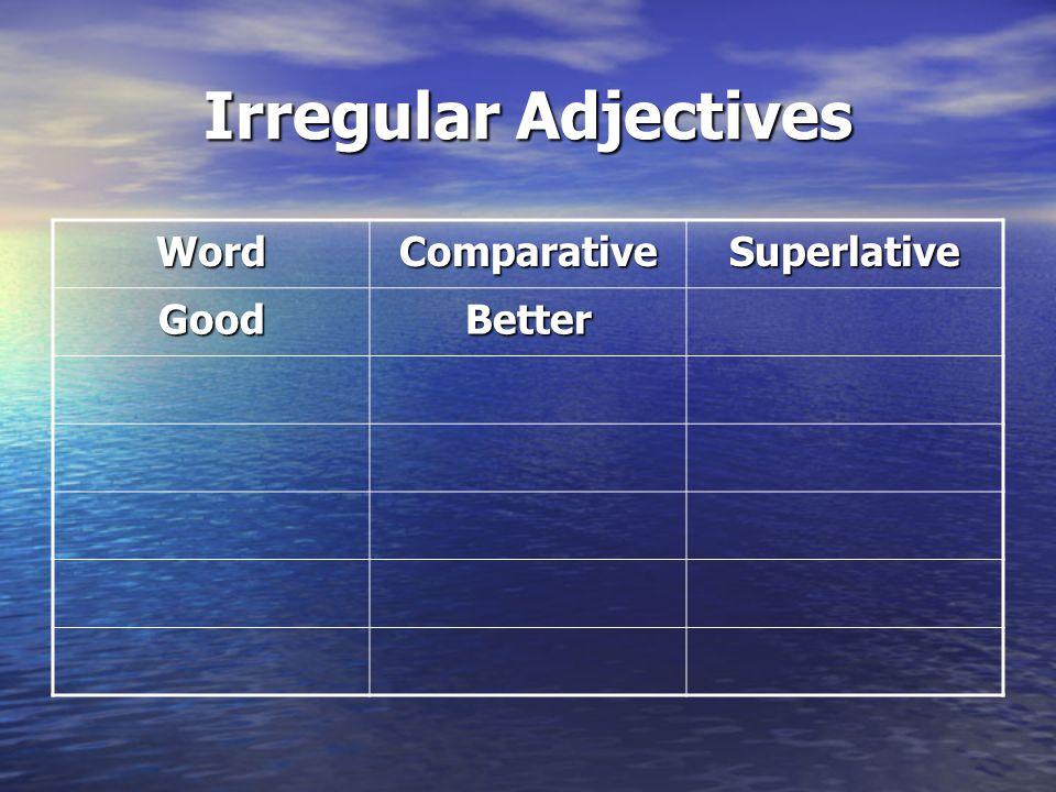Irregular Adjectives Word Comparative Superlative Good Better