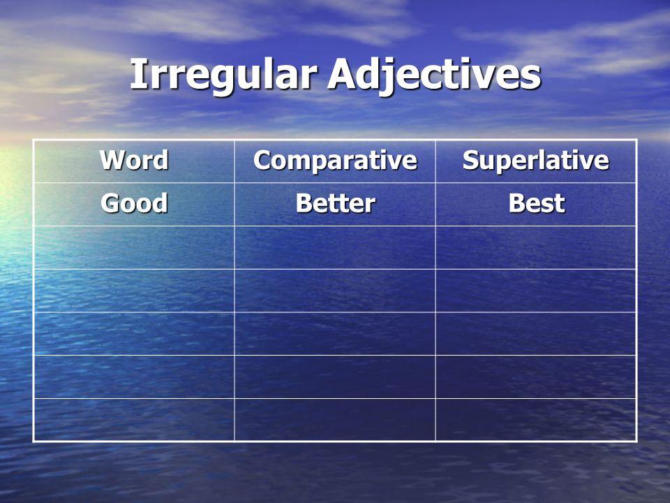 Irregular Adjectives Word Comparative Superlative Good Better Best