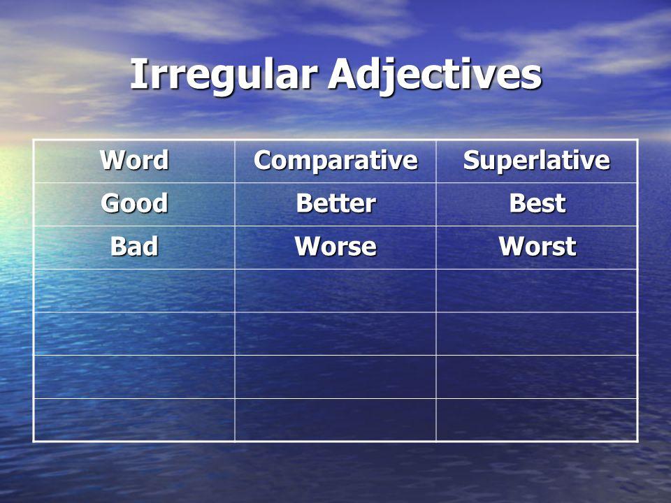 Irregular Adjectives Word Comparative Superlative Good Better Best Bad