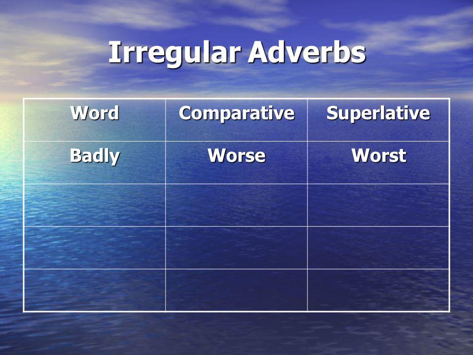 Irregular Adverbs Word Comparative Superlative Badly Worse Worst