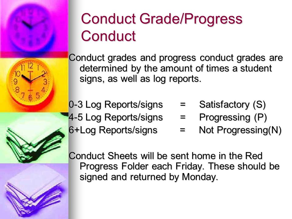 Conduct Grade/Progress Conduct