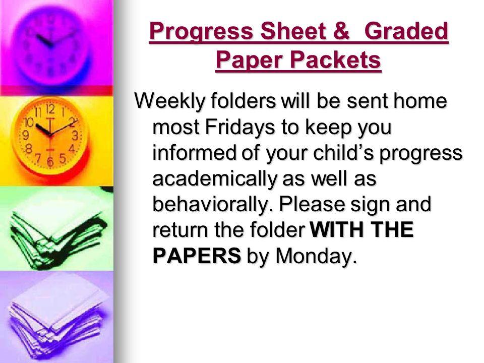 Progress Sheet & Graded Paper Packets