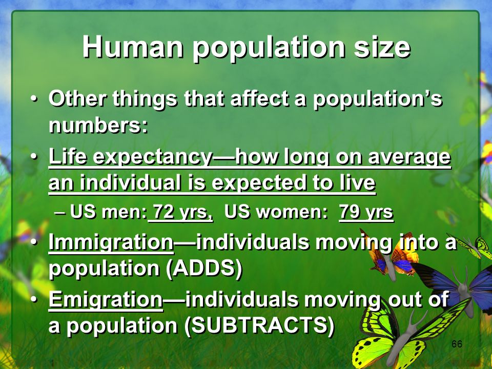 Human population size Other things that affect a population's numbers: