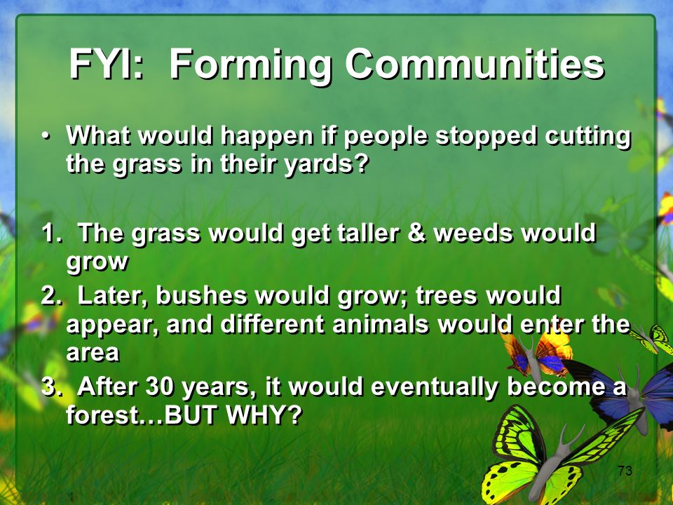 FYI: Forming Communities