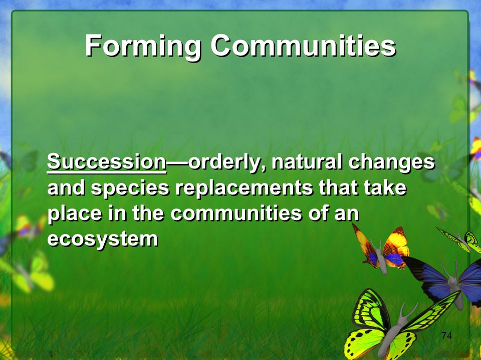 Forming Communities Succession—orderly, natural changes and species replacements that take place in the communities of an ecosystem.