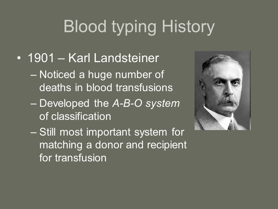 Blood typing History 1901 – Karl Landsteiner