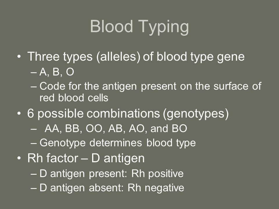 Blood Typing Three types (alleles) of blood type gene
