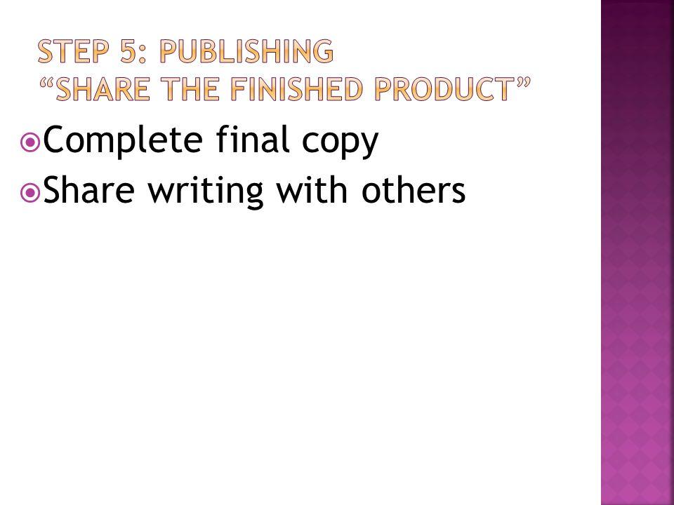 STEP 5: PUBLISHING SHARE THE FINISHED PRODUCT