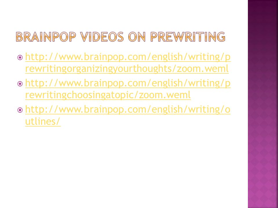 Brainpop Videos on Prewriting