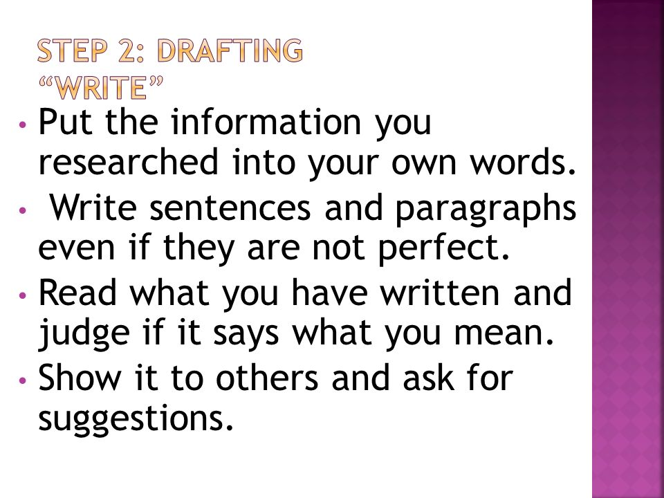 STEP 2: DRAFTING WRITE