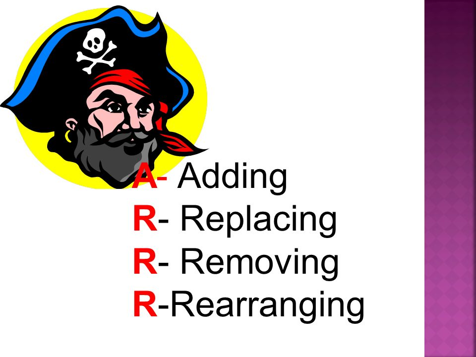 A- Adding R- Replacing R- Removing R-Rearranging
