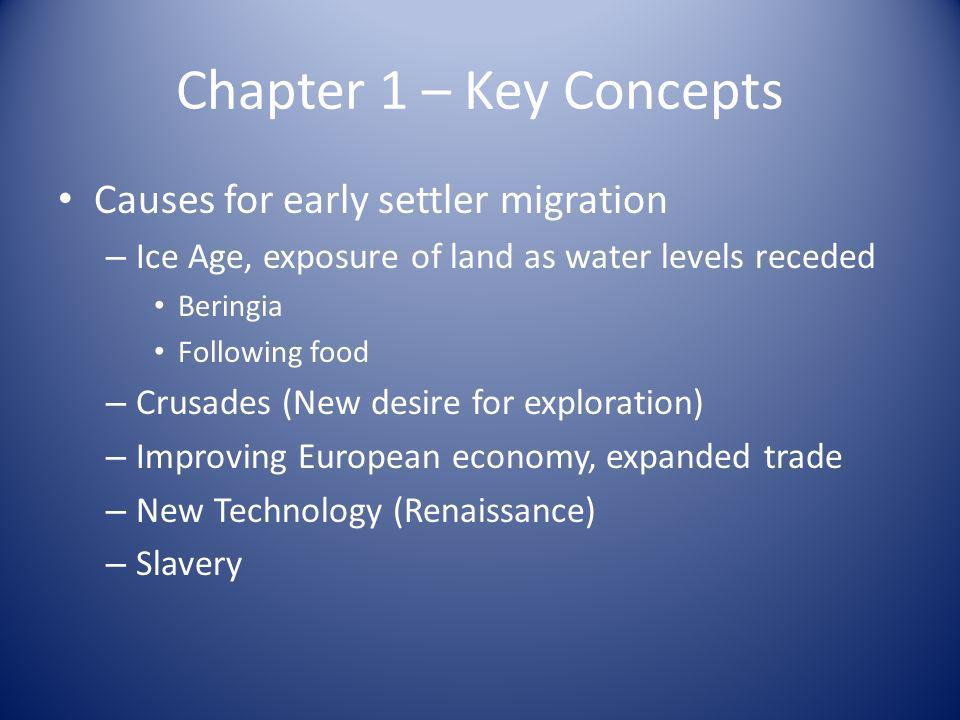 Chapter 1 – Key Concepts Causes for early settler migration