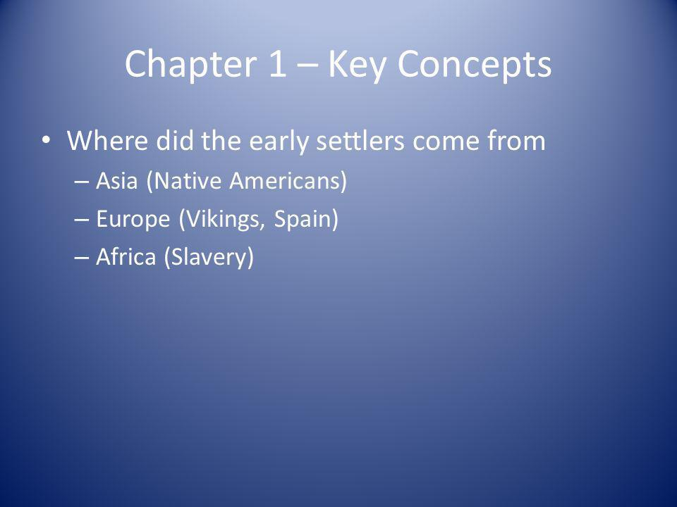 Chapter 1 – Key Concepts Where did the early settlers come from