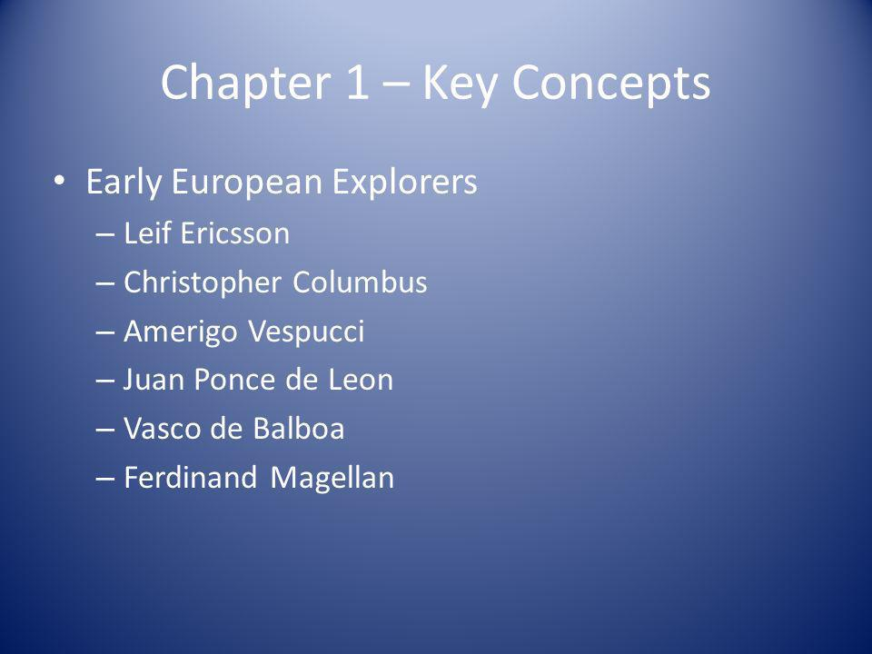 Chapter 1 – Key Concepts Early European Explorers Leif Ericsson