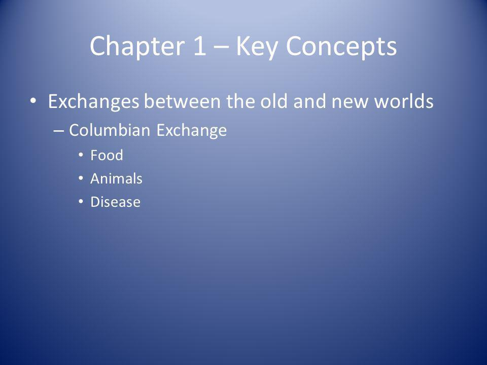 Chapter 1 – Key Concepts Exchanges between the old and new worlds