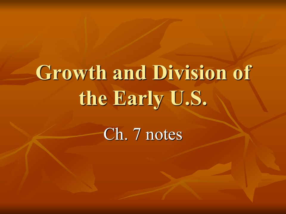 Growth and Division of the Early U.S.
