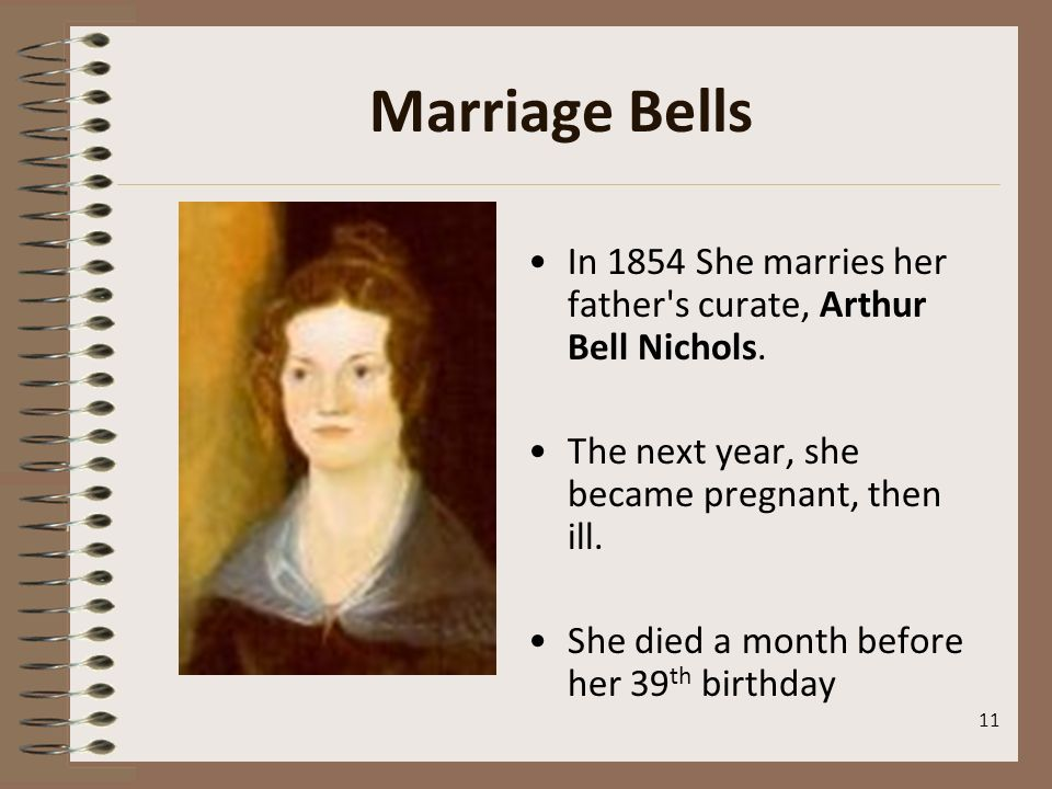 Marriage Bells In 1854 She marries her father s curate, Arthur Bell Nichols. The next year, she became pregnant, then ill.