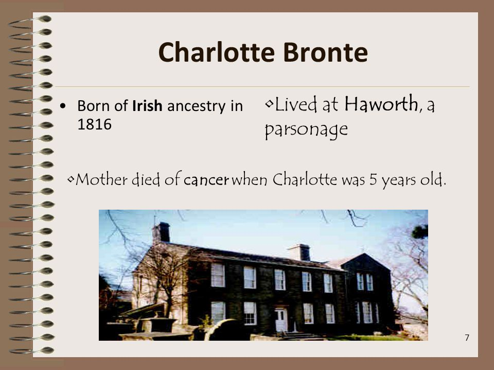 Charlotte Bronte Lived at Haworth, a parsonage