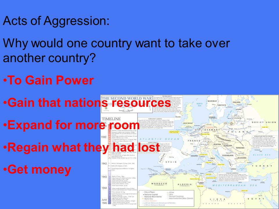 Acts of Aggression: Why would one country want to take over another country To Gain Power. Gain that nations resources.