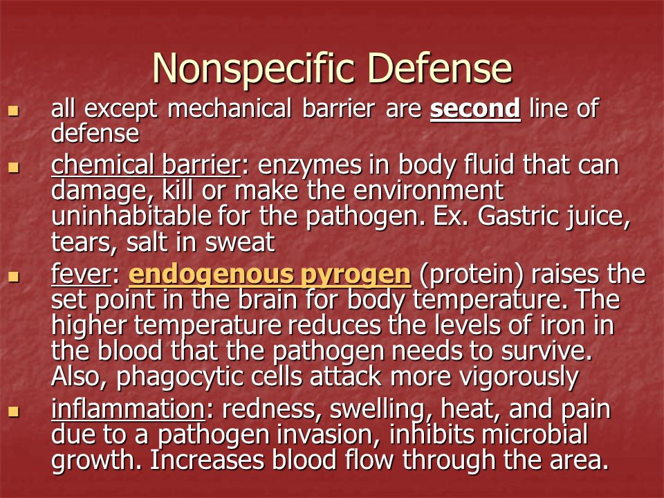 Nonspecific Defense all except mechanical barrier are second line of defense.