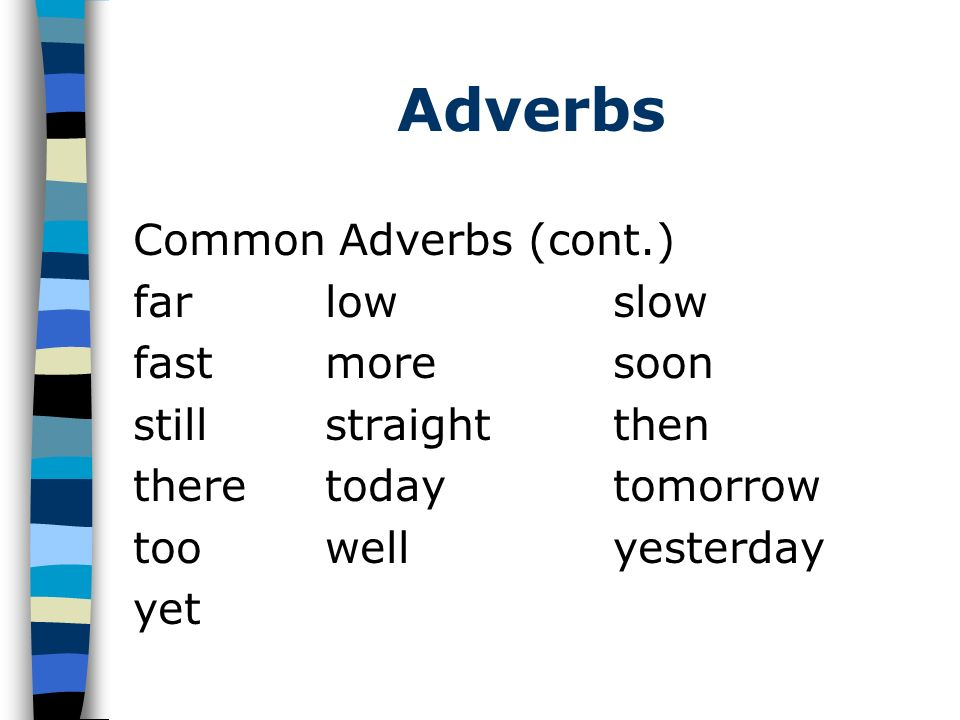 Adverbs Common Adverbs (cont.) far low slow fast more soon