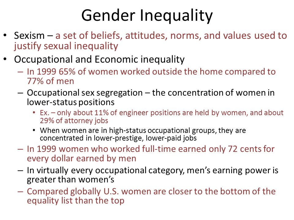 sexual inequality Gender inequality is the idea and situation that women and men are not equal gender inequality refers to unequal treatment or perceptions of individuals wholly or.