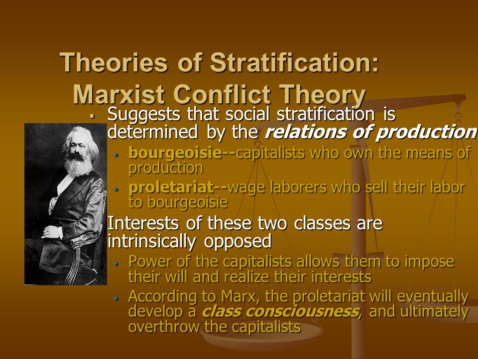 theories of social stratification marx and weber For karl marx, a social class is a group of people who stand in a common  relationship to the means of  m weber's theory of social stratification weber.