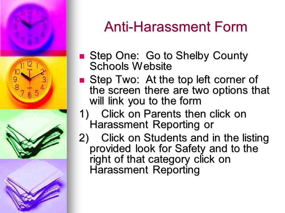 Anti-Harassment Form Step One: Go to Shelby County Schools Website