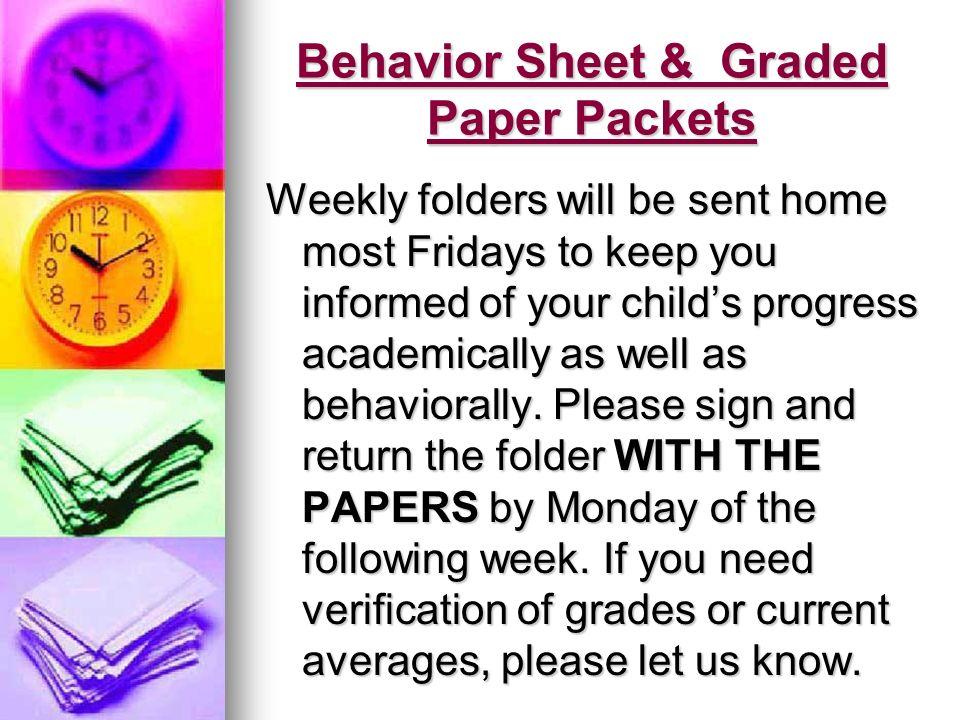 Behavior Sheet & Graded Paper Packets